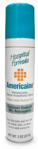 Americaine Hospital Formula Maximum Strength Benzocaine Topical Anesthetic Spray | for Minor Cuts, Scraps, Burns & Sunburn | 2 Ounce Can