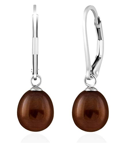 Splendid Pearls 925 Sterling Silver 8mm Genuine Pearls Freshwater Cultured Lever-back Dangling Earrings for Women (Brown)
