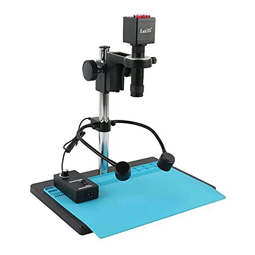 Yhtech 1080P VGA HDMI IMX307 Industrial Lab PCB Soldadura de Video Microscopio de Video 130x Zoom High Distancia de Trabajo Gran Vista Grande (Color : White, Magnification : Blue)