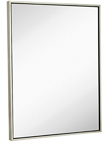 """Clean Large Modern Antiqued Silver Frame Wall Mirror 30"""" x 40"""" Contemporary Premium Silver Backed Floating Glass Panel"""