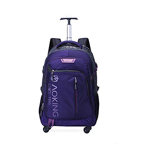 QWERASD Trolley Backpack Bag, Rolling backpack multifunction Rolling School Book Pack trolley bag nylon for school students and adult education Trolley Business,Purple,Small
