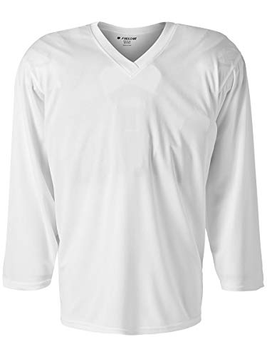 Firstar Rink White Blank Ice Hockey Practice Jerseys for Senior and Junior - Adult and Youth (Adult Goalie)
