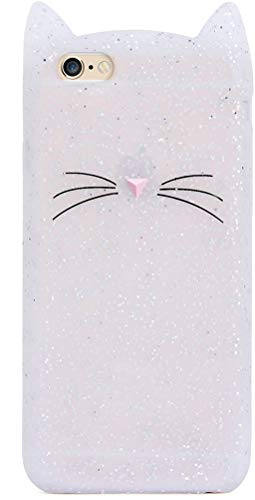 Cat iPhone 7 Plus 8 Plus Case Cute Lovely Kitten Design Glitter Silicone Soft Protective Cover for Girls Teens for iPhone 7 8 Plus 5.5 Inch Bling Sparkly 3D Whiskers Ears Funny Kitty for Child Kids