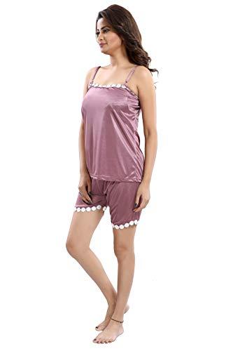 Fashigo Women's Satin Top & Shorts Nightwear/Loungewear Set Wine