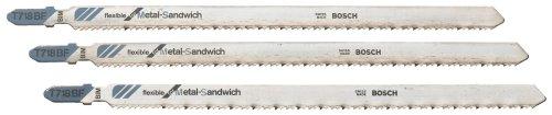 BOSCH T718BF3 3-Piece 7 In. 14 TPI Flexible for Sandwich T-Shank Jig Saw Blades