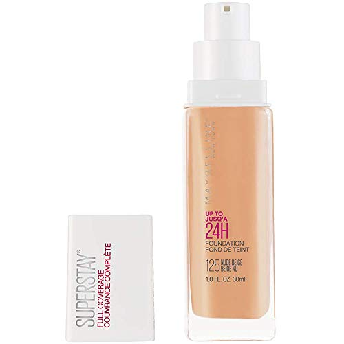 Maybelline New York Super Stay Full Coverage Liquid Foundation Makeup, 125 Nude Beige, 1 Fl Oz