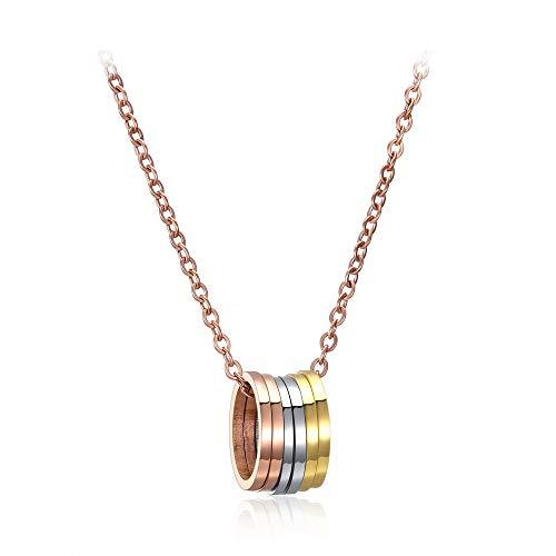 Emma Gioielli - Collar de mujer con cadena de acero de alta calidad Oro rosa con colgante de círculo, seis círculos, tres colores dorado, caja de regalo