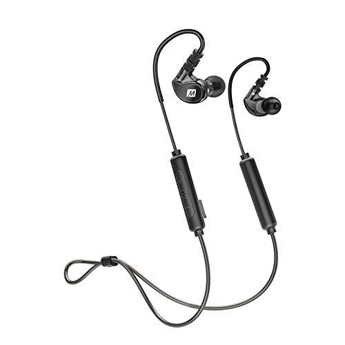 MEE Audio X6 Generation 2, audífonos Bluetooth, resistentes al sudor (IPX5), 8 horas de duración de la batería, micrófono integrado, ajuste seguro para correr, gimnasio y deportes, color gris metálico