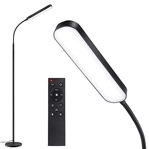 Outon Stehlampe LED Dimmbar 15W 1500LM, Leselampe mit 4 Farbtemperatur, Fernbedienung und Touch Steuerung, 1 Stunden Timer, Leseaufgabe Beleuchtung für Wohnzimmer Schlafzimmer Büro, Schwarz