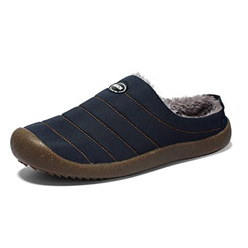 CACAZI Zapatillas De Invierno Para Hombre, Zapatillas De Felpa Impermeables a La Moda, Antideslizantes De Goma, Zapatillas Cálidas Reutilizables, Zapatillas De Casa Para Interiores De Goma, Informales
