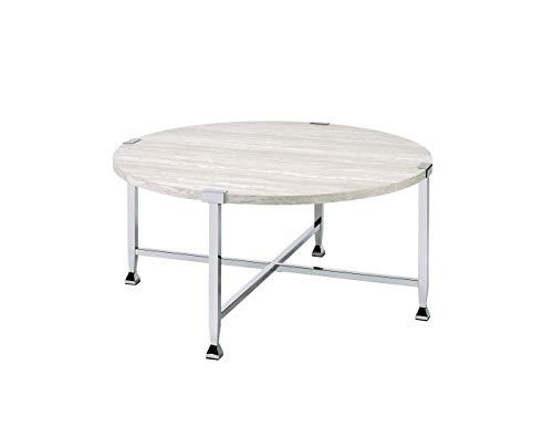 Acme Furniture Brecon Coffee Table, White Oak &Chrome