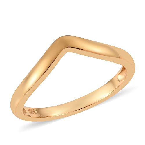 TJC 925 Sterling Silver 14ct Gold Plated Fashion Wishbone Ring for Women & Girls Size U