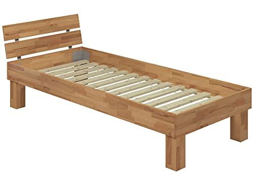 Erst-Holz® Hohes Massivholzbett Einzelbett Buche 100x220 Seniorenbett inkl. Rollrost in Überlänge 60.81-10-220