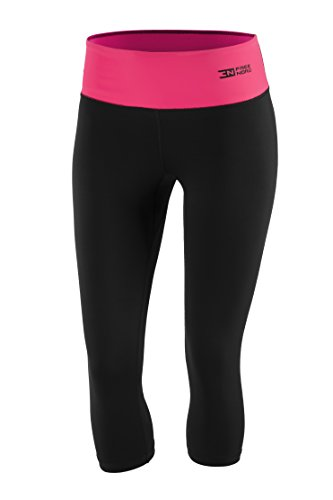 Fittech Performance Legging thermoactif pour femme, short moulant, pantalon 3/4 pour fitness, yoga, sports d'extérieur, cyclisme, course à pied XL noir/rose