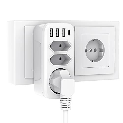 Doppelstecker für Steckdose, Gogotool 3 Steckdosen mit 4 USB Anschluss, 7-in-1 Steckdosenadapter mit USB-C Ladegerät, Aufputz Steckdosen Adapter 2 Eurosteckdose und 1 Schuko Kompatibel für Phone, Weiß