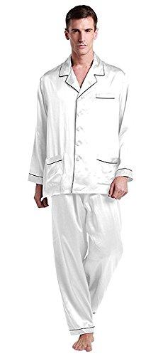LilySilk Pyjama Soie Homme Emsemble de Pyjama 2 Pièces Col Chemise Classique Chemise à Manches Longues Bas de Pyjama Long 22 MM L Blanc