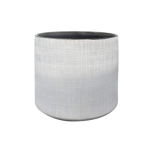 Amazon Brand – Rivet Rustic Stoneware Crosshatch Indoor Outdoor Flower Plant Pot, 7.9'H, Silver