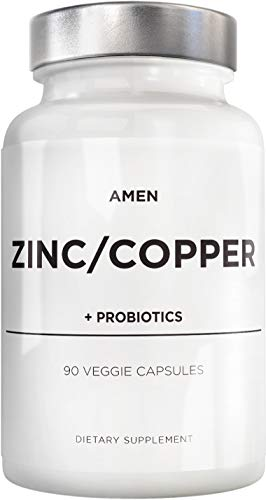 Zinc & Copper Supplement + Probiotics – 3 Months Supply – One Per Day - 50 mg Zinc Picolinate Vitamin Pills - Essential Minerals Supplements – 2 Billion CFUs Probiotic – Vegan, Non-GMO - 90 Capsules