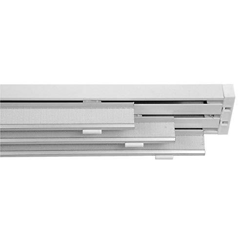Binario Bastone per Tende A Pannelli Interamente in Alluminio Bianco Movimento A Corda, 3 Pannelli (180 CM)