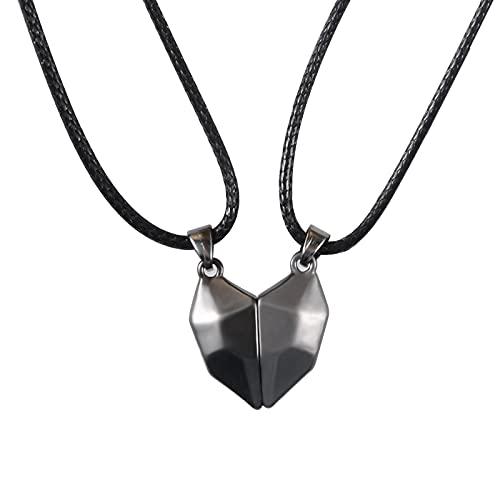 BOCHOI Par de pendientes magnéticos, collar de dos almas, un colgante de corazón para novia, novio, hombres, mujeres, regalos en blanco y negro,