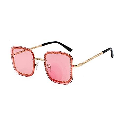 Gafas De Sol Gafas De Sol Unisex De Lujo Sin Montura para Mujer, Gafas De Sol Cuadradas Famosas De Gran Tamaño para Mujer, C5Gold-Pink