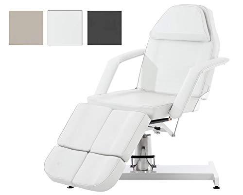 CLP Split hydraulische Kosmetikliege V2 I stufenlos verstellbare Massageliege I geteiltes Fußteil verstellbar Weiß