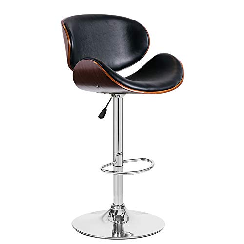 SK Depot High Back Swivel Adjustable PU Leather Bar Stool Pub Chair, with Backrest & Footrest/Back Foot Rest (Black)