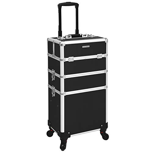 SONGMICS Professional Makeup Case, 3-in-1 Travelling Beauty Trolley, Large Cosmetic Trolley for Hairdressers, Lockable Rolling Makeup Case with 360-Degree Universal Casters, Black JHZ01B