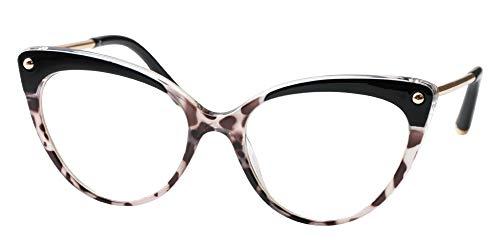 SOOLALA Ladies Oversized Cat Eye Reading Glass Modern Eyeglass Frame, Leopard, 1.25