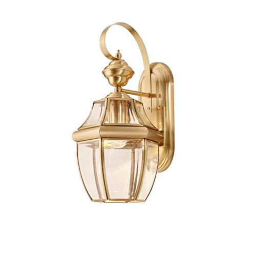 Ideahome Nórdico Creativo Latón Lámpara De Pared,Vidrio Sombra Pasillo Aplique De Pared,Al Aire Libre Impermeable Iluminación De Pared,E27-Cobre 22×39cm