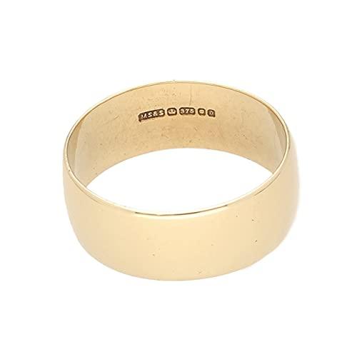 Jollys Jewellers Alianza de boda de oro amarillo de 9 quilates en forma de D para hombre (tamaño Y), 8 mm de ancho