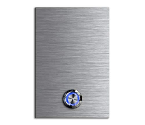 CHRISCK design - Edelstahl Türklingel Basic 8x12 cm rechteckig mit einem Klingel-Taster/LED Beleuchtung und schönen Dekorplatten aus Acrylglas Namensschild/Klingelplatte