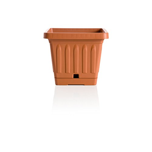 Bama 30402Vaso Quadrato Vaso di Terra con Self Waterer piattino, Terracotta, 40x 40cm