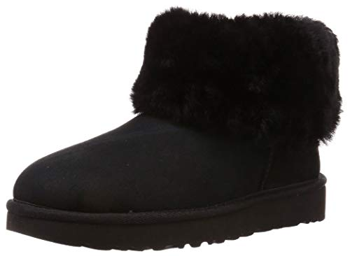 UGG Female Classic Mini Fluff Classic Boot, Black, 6 (UK)