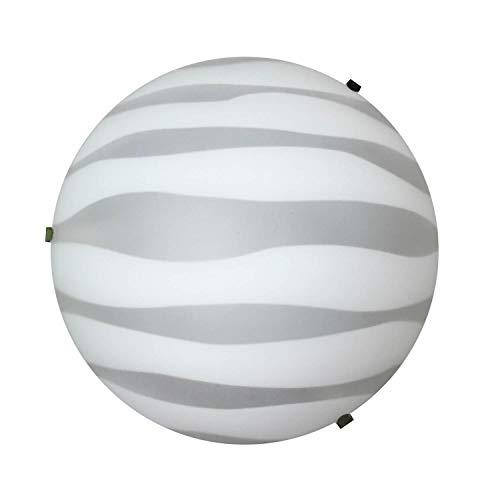 ONLI plafondlamp in mat wit glas zebra effect. Diameter: 25 cm