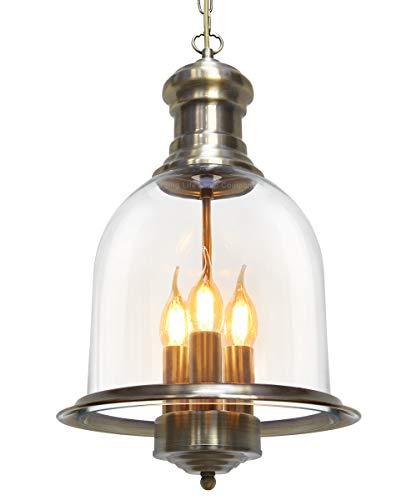 Vintage Glass Pendant Light Brass Hanging Antique Ceiling Chandelier Candle Lantern M0121