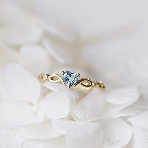 KEJI Anillo de corazón simple para mujer con diamantes de imitación lindos anillos de dedo de boda, compromiso, regalo de cumpleaños para novia de circonio joyas de piedra
