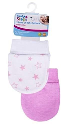 Baby scratch moufles 2 Paire Pack en rose ou blanc ou bleu 100/% coton soft touch