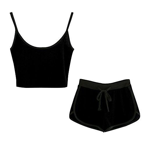 Zweiteiler Damen Sommer, Ulanda Frauen Teenager 2 Teile Sport Set Trainingsanzug Yoga Outdoor Beiläufig Jogging Sportkleidung Crop Tops Bauchfrei mit Sport Kurze Hose