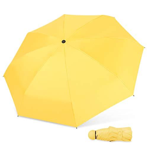 DORRISO Damen Mini Regenschirm Faltbarer Reise Windsicher Kompakt Leicht Stabiler Anti-UV UPF 50+ Regenschutz Dauerhafte Taschenschirm Reise Regenschirm Gelb