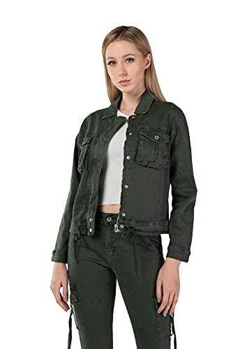 JOPHY & CO. Chaqueta de mujer corta de algodón ligero, cierre frontal con botones y cremallera, cordón ajustable en la cintura (cód. 1083) verde militar XS