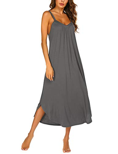Ekouaer Full Length Nightgown Sleeveless Rayon Sleep Dress Slip Grey Night Dress Plus Size