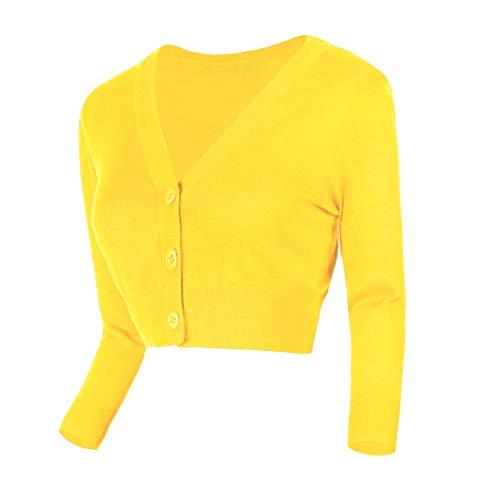Urban GoCo Damen V-Ausschnitt Kurz-Strickweste Strickjacke 3/4 Ärmel (XL, Zitronen gelb)
