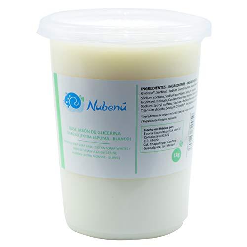 Base de jabón de glicerina transparente o blanco (Melt and Pour) extra espuma (1 kg, Blanco)
