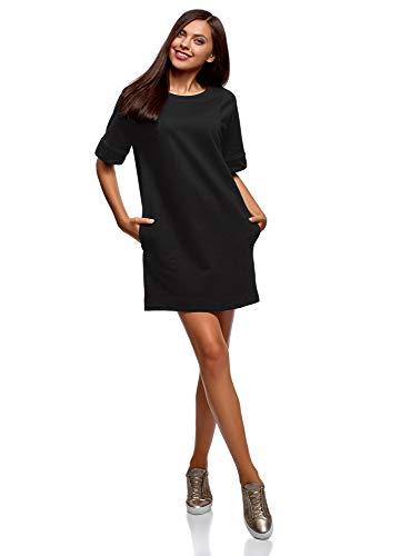 oodji Ultra Mujer Vestido Recto de Algodón