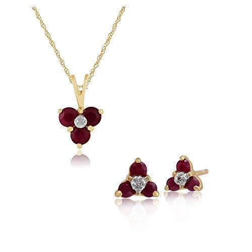 Gemondo 9ct Oro Giallo Rubino E Diamante Floreale Orecchini A Lobo A Grappolo & 45cm Collana Set