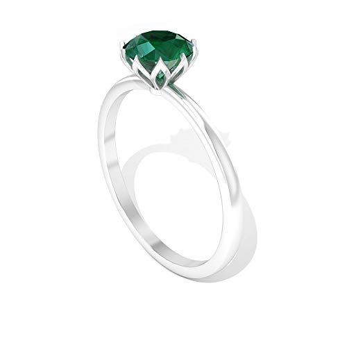 Anillo de compromiso con solitario esmeralda de 0,80 quilates, con piedra natal verde de mayo, anillos de aniversario de boda, anillos de promesa de novia antiguos, 18K Oro amarillo, Size:EU 48