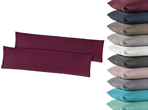 2er Pack Jersey Kissenbezug Kissenhülle Kissenbezüge Seitenschläferkissen 40x145 cm 100% Baumwolle Bordeaux