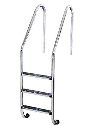 YMBERSA Escalera Piscina estándar 3 Peldaños Antideslizantes. Acero Inoxidable AISI 304 con Anclajes con Toma de Tierra. Regalo Limpiador de Acero