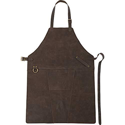 FUN FAN LINE - Delantal de Cuero Profesional Lujoso Estilo Vintage con Cintas Ajustables y Bolsillo Frontal. Ideal para Chef, Cocina y Uso Exterior. (84,5cm x 61,3cm x 0,3cm)